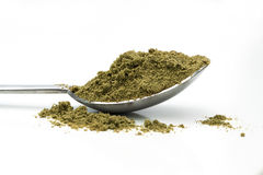 Hemp  powder. Hemp seeds and powder on white isolated Royalty Free Stock Image