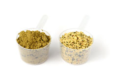 Hemp protein powder and shelled hemp seeds Royalty Free Stock Photos