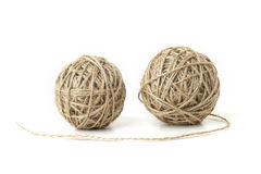 Hemp rope. Two rolls of hemp rope on a white background Stock Photography