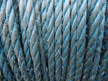 Hemp rope - blue background Stock Image