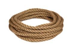 Hemp rope. Isolated on white background Stock Photos
