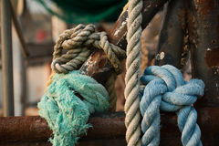 Hemp rope and rigging on a fishing trawler Royalty Free Stock Images