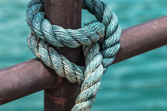 Hemp rope. Beside the river Royalty Free Stock Image
