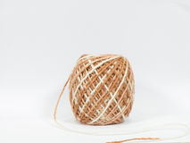 Hemp rope roll gunny on white background. Royalty Free Stock Photography