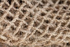 Hemp rope textured pattern macro view. Selective focus photography Stock Images
