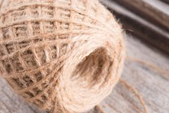 Hemp rope on wood background Royalty Free Stock Images