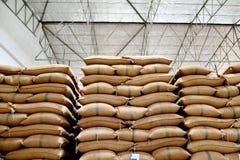 Hemp sacks containing rice Stock Photos