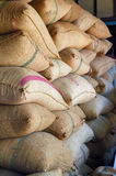 Hemp sacks containing rice Stock Image