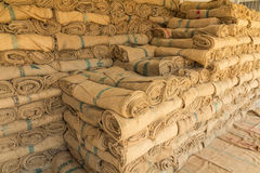 Hemp sacks in a row. Set unavailable Royalty Free Stock Images