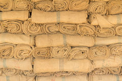 Hemp sacks in a row Royalty Free Stock Images