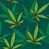 Hemp Seamless Pattern. Seamless hand drawn hemp pattern. No transparency and gradients used stock illustration