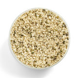 Hemp seed in a glas jar shot from above Royalty Free Stock Photos