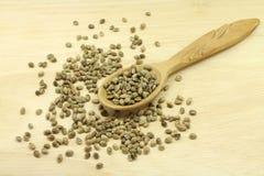 Hemp seed in spoon Stock Photo