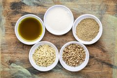 Hemp seed superfoods collection royalty free stock photos