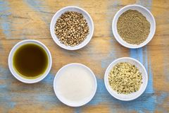 Hemp seed superfoods collection royalty free stock image