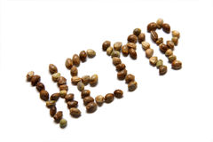 Hemp Seeds. Spelling Hemp on white background Royalty Free Stock Image