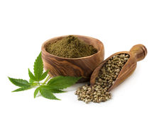 Hemp seeds and flour Stock Images