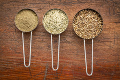 Hemp seeds, hearts and protein powder Royalty Free Stock Images