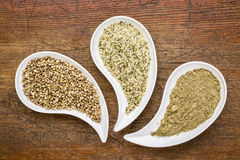 Hemp seeds, hearts and protein powder Royalty Free Stock Photos
