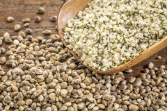 Hemp seeds and hearts Royalty Free Stock Image