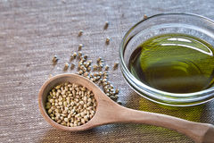 Hemp seeds and hemp oil. Healthy choice. Hemp seeds in the wooden spoon and hemp oil in the glass bowl Royalty Free Stock Photos