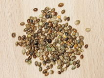 Hemp seeds isolation on wood background Royalty Free Stock Photography