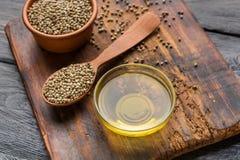 Hemp seeds and oil stock photo