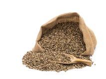 Hemp seeds in a sack Stock Photos