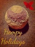 Hempy Holidays. Happy Holiday Greeting for Hemp Enthusiasts. Hempcrete ball featured Royalty Free Stock Photo