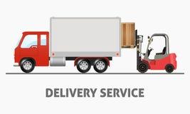 Hemsändning - lastbil och gaffeltruck Stock Illustrationer