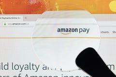 Hemsida av online-lön för e-kommers marknadsplatsamason på den iMac bildskärmskärmen under förstoringsglaset Den största online-s Arkivbild
