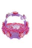 Hemslöjd av pryder med pärlor den crystal korgen formade plast- bunken Royaltyfri Bild