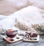 Hemtrevlig atmosfär för stilleben med en kopp te arkivfoto
