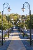 Hemtrevlig gammal stadgränd med rader av lyktor och bänkar Royaltyfria Foton