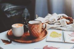 hemtrevlig höst- eller vintermorgon hemma Stillebendetaljer med kopp te, stearinljus, skissar boken med herbariumen och den varma arkivbild