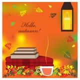 Hemtrevlig höstillustration med plädet, böcker och kopp te stock illustrationer