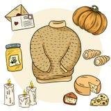 Hemtrevlig hyggeklotterupps?ttning gulliga etiketter Samling av hemtrevliga objekt stock illustrationer