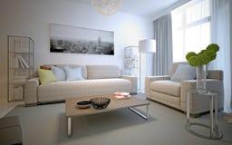 Hemtrevlig inre av den moderna vardagsrummet Royaltyfria Foton