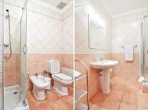 Hemtrevlig lyxig toalett med varma färger. Arkivfoto