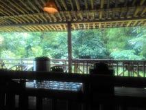Hemtrevlig restaurang på flodstranden royaltyfri bild