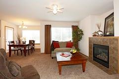 Hemtrevlig vardagsrum med en spis royaltyfria foton