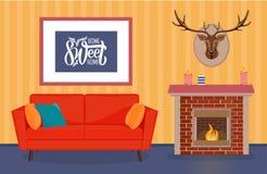 Hemtrevlig vardagsrum med möblemang stock illustrationer