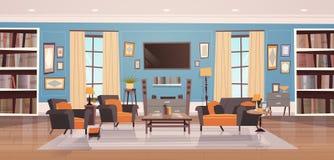 Hemtrevlig vardagsruminredesign med den modern möblemang, Windows, soffan, tabellfåtöljer, bokhyllan och tv royaltyfri illustrationer