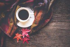 Hemtrevlig vinterbakgrund, kopp av varmt kaffe med marshmallowen och sidalönn på säsonghöst, varm stucken tröja på gammalt träb arkivbild