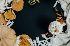 Hemtrevliga Autumn Composition PumpaLatte, kanel och pläd på a Royaltyfria Bilder