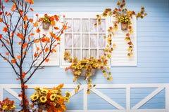 Hemtrevligt landshus med blåa väggar och det vita fönstret Fotografering för Bildbyråer