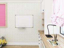 Hemtrevligt rum för flicka` s, arbetsplats framförande 3d Fotografering för Bildbyråer