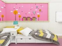 Hemtrevligt sovrum för flicka` s i rosa färger med sängar och gullig garnering på väggen framförande 3d Royaltyfria Foton