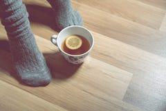 Hemtrevligt vinterbegrepp med flickan som dricker varmt te arkivfoton