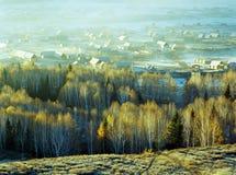 Hemu, een klein dorp in Xinjiang, Stock Afbeelding